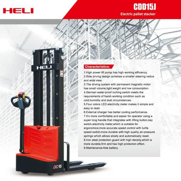 xe nâng điện đứng lái mini 1.5 tấn Heli CDD15 J